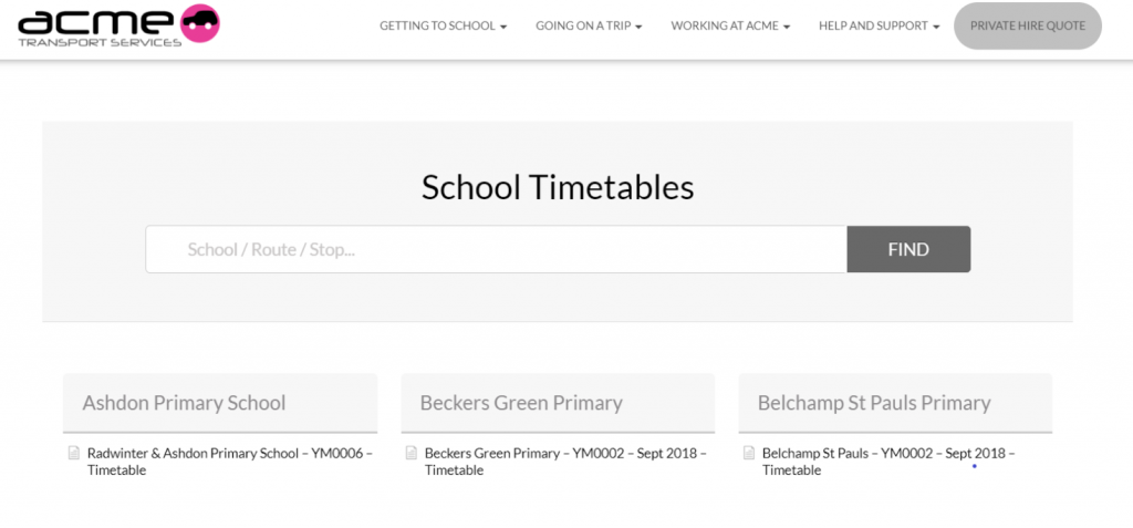 screen shot of timetables